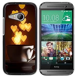 For HTC ONE MINI 2 / M8 MINI Case , I Love Hearts Cup Gold Lights - Diseño Patrón Teléfono Caso Cubierta Case Bumper Duro Protección Case Cover Funda