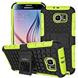 S6 Case ,Galaxy S6 Case, DLF Case [ Shockproof ] Samsung Galaxy S6 Case Heavy Duty Rugged Dual Layer TPU Textured Non Slip Reinforced Polycarbonate Hybrid Case for Samsung Galaxy S6 with Kickstand(Green)