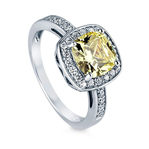 BERRICLE Rhodium Plated Sterling Silver Canary Yellow Cushion Cut Cubic Zirconia CZ Halo Engagement Ring 3.42 CTW Size 6