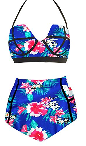 la-plage-womens-high-waist-vintage-push-up-padded-floral-swimsuit-size-xl-floral-blue