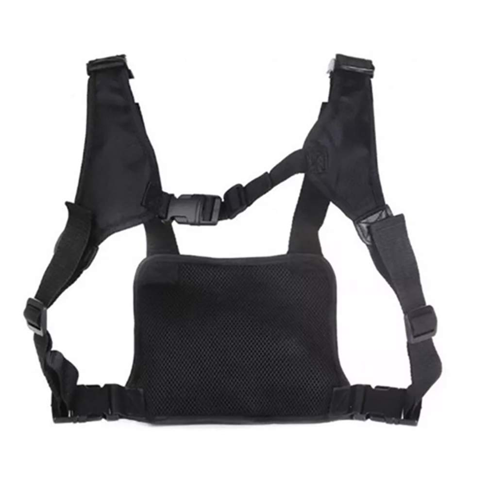 Molle Vest Rig Holster Heavy Duty Radio Chest Rig Universal Hands Free Chest Pocket Harness Bag Survival Gear for Men ZSBX08