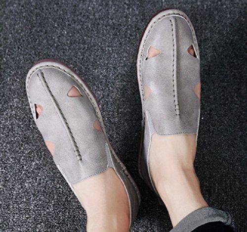 Pour Anti Plein Baotou Cuir Mode Gris De Paresseux D'été Pieds En Chaussures Shoeszhangm Décontractées dérapant Sandales Plage Air Creux Hommes Low Grande Ensembles Cut Taille nwYIHnzPq
