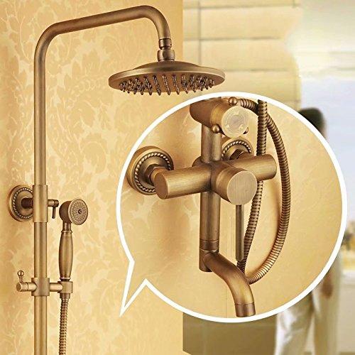 A SMCGJL Retro shower full copper antique shower European shower faucet set can lift pressurized water