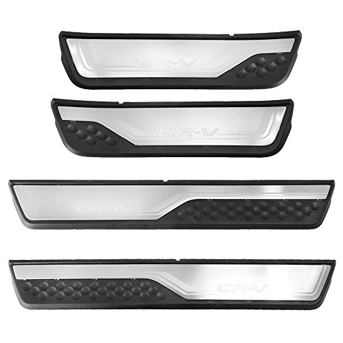 Entry Steel Door Plates Stainless (Saihisday Fits HONDA CR-V CRV 2017 2018 Stainless Steel Door Sill Scuff Plate Cover 4 PCS (Silver))