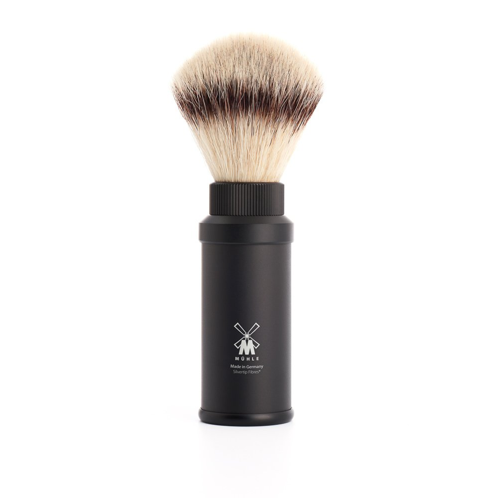Mühle Travel - Brocha de afeitar de viaje (fibra silvertip, mango de aluminio anodizado), color negro 31M536