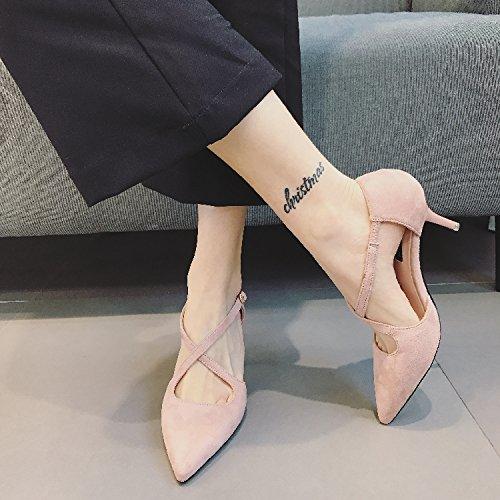tacones La Retro Ajunr La 6 Moda Pink Transpirable elegante Bridesmaid zapatos 5Cm Commuter altos 39 36 con Los multa Sandalias Cruz multa zapatos zapatos xFqqYf7
