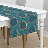 Table Runner - Solar Eclipse Mid Century Gold Circles Mia by Mia Valdez - Cotton Sateen Table Runner 16 x 108