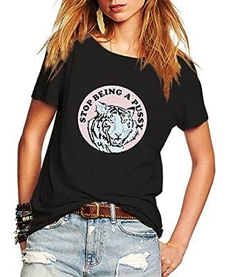 Romastory Women's Funny Print Casual T-Shirts Short Sleeve Summer Tops Tee Shirt