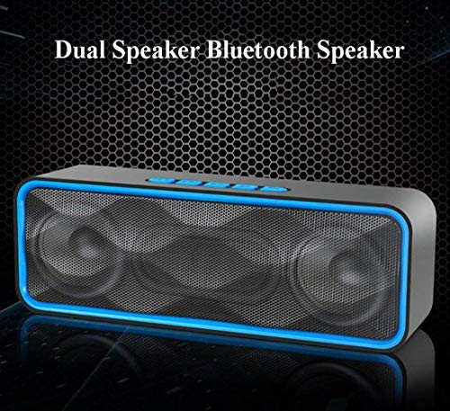 MANCASSY N7 Wireless Bluetooth Speaker, Outdoor Portable Stereo Speaker with HD Audio and Enhanced Bass, Built-In Dual Driver Speakerphone, FM Radio and TF Card Slot (Blue) by MANCASSY (Image #6)