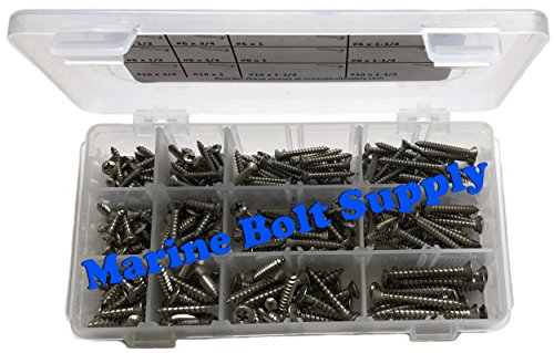 Type 316 Stainless Steel Phillips Drive Oval Head Sheet Metal Screw Kit - Marine Bolt Supply 6-111915 by Marine Bolt Supply (Image #1)