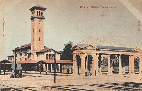 Square Dayton (Dayton Ohio Union Square Train Station Antique Postcard J37463)