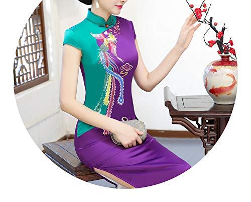 週末ホップ資金チャイナドレス 赤、緑、青、紫、多色ステッチ、カラフル、エレガントなスカート,パープルグリーン,XL