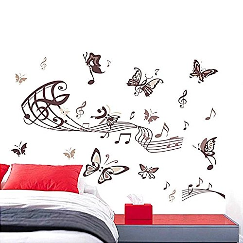 ElEling Fashion Art Wall Sticker Elegant Cartoon Music Note Black Butterfly Removable DIY Art Vinyl Decal For Home Decoration (Singapore Cartoon Costume)