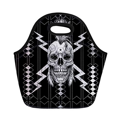 (Semtomn Neoprene Lunch Tote Bag Skull Punk Graphic Rocker Guitar Hair Man Mohawk Steam Reusable Cooler Bags Insulated Thermal Picnic Handbag for Travel,School,Outdoors,)