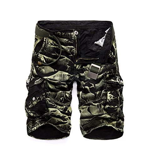 NiuZi Men's Loose Fit Twill Cargo Shorts Cotton Multi-Pocket Outdoor Lightweight Cargo Camouflage Shorts (Black Green Camo, 36)