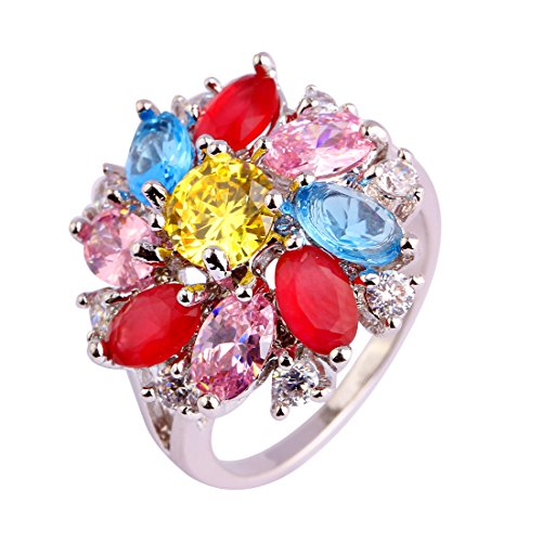 Narica Womens Brilliant Charming Marquise Cut Citrine Mixed Color Flower Shaped Cluster Cocktail Ring