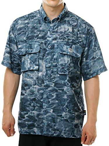 Aqua Design Men Saltwater Vented Short Sleeve Camo Flats Fly Fishing Shirt, Misty Sky, XL Flats Short Sleeve Shirt