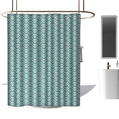 (Qenuan White Shower Curtain Abstract,Curly Bold Water Fishing Theme Summer Season Vacation Beach Seashore Swimming,Turquoise White,3D Effect Bathroom Curtain 72