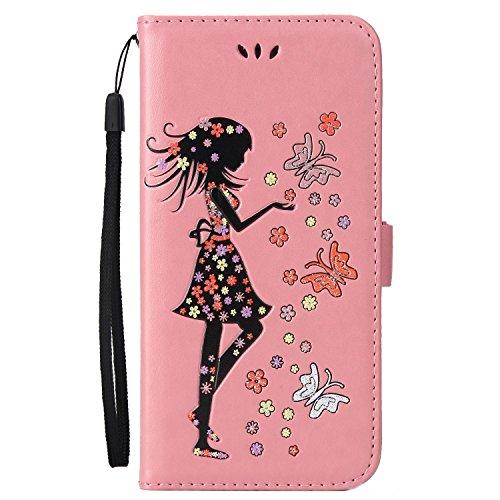 SRY-Caso sencillo Horizontal Flip Stand Wallet Pouch Cover con Lanyard y ranuras de tarjeta para el iPhone 7 Plus Protección reforzada ( Color : Rosegold ) Pink