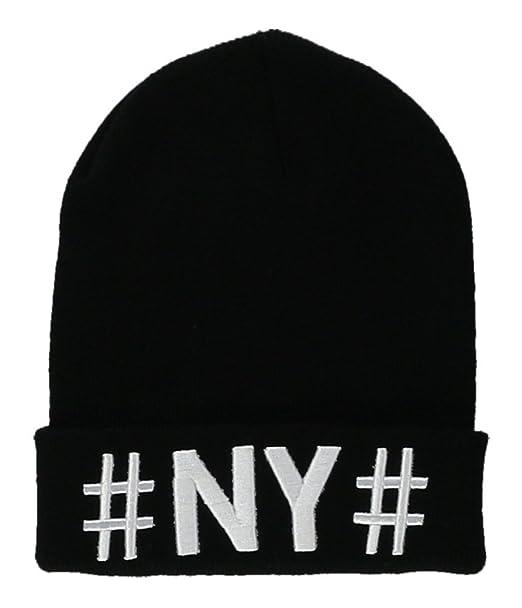 3e1480faf14 Amazon.com  Ecko Unltd. Mens   NY   Beanie Hat Black One Size  Clothing