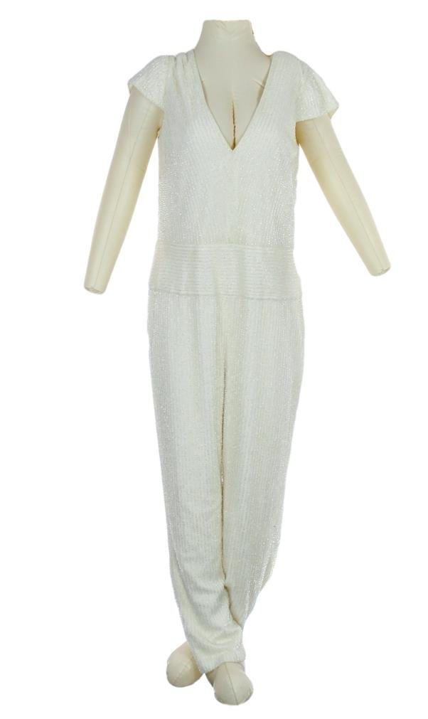 J Crew Collection White Beaded Jumpsuit Sample New Without Tags