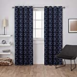 Exclusive Home Curtains Cartago Insulated Woven Blackout Grommet Top Curtain Panel Pair, 54x96, Peacoat Blue, 2 Piece