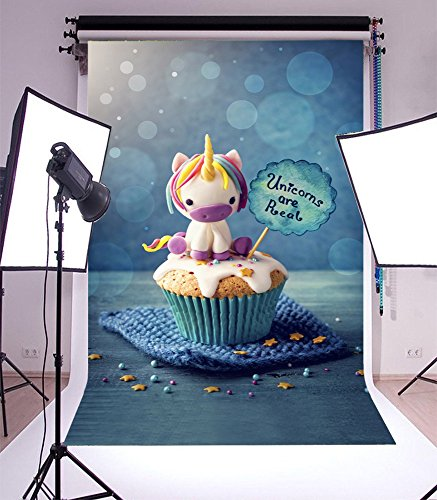 (Laeacco 3x5ft Vinyl Photography Background Unicorn Cupcakes Background Unicorn are Real Colorful Happy Birthday Party Newborn Baby Toddlers Girls Boy Fantasy Cake Love theme Blur Blue Bokeh Background)