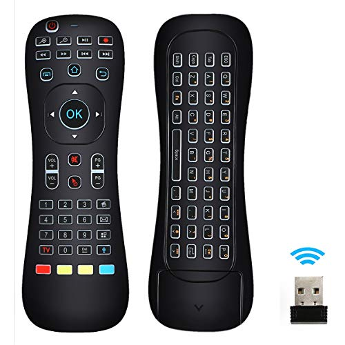 Linkstyle Updated Air Mouse Backlit, 2.4G Wireless Android Kodi Remote Mini Keyboard Infrared Learning Voice Input for Android TV Box Xbox PC Pad Raspberry Pi 3 Android Windows Mac OS Linux