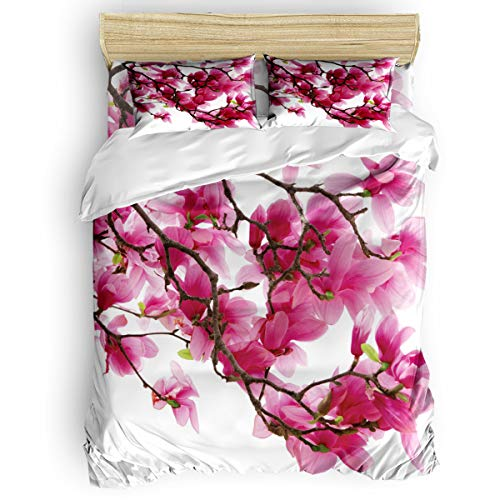 BULING 4pc Bedding Set Queen Size, Japanese Cherry Blossom Floral Lightweight Microfiber Duvet Cover Set