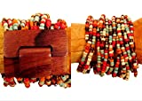 Red Sedona Color Inspired Wood Buckle Stretch Beaded Cuff Bracelet Bali Bay Trading Co