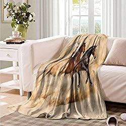 "Oncegod Comfort Blanket Horses Mythical Animals Pattern Bedding Throw, or Blanket Sheet 84"" W x 70"" L"