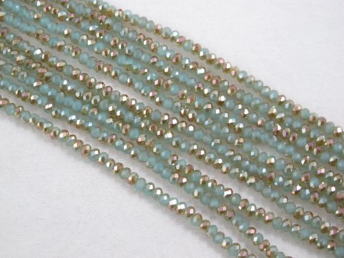 BRCbeads Glass Crystal Faceted Rondelle Finding Spacer Beads 2x3mm 190pcs Half Green/Gold Color 16''per Strand