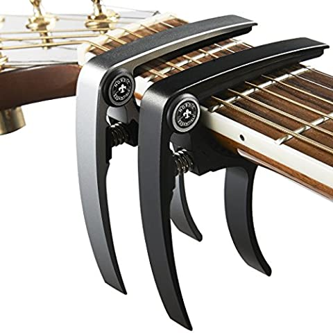 Nordic Essentials Aluminum Metal Universal Guitar Capo, 1.2 oz (2 Pack) - Black and Silver (Cable De Guitarra Fender)