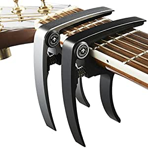 Nordic Essentials Aluminum Metal Universal Guitar Capo, 1.2 oz (2 Pack) - Black and Silver