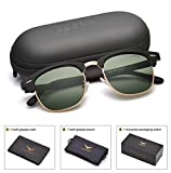 LUENX Men Clubmaster Polarized Sunglasses Women UV 400 Protection Grey Green Lens Black Matte Retro Classic Frame 51MM,by LUENX with Case