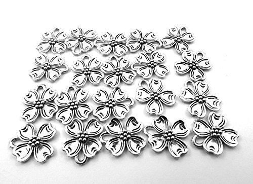 Dogwood Flower Charm - Set of Twenty (20) Silver Tone Pewter Dogwood Flower Charms