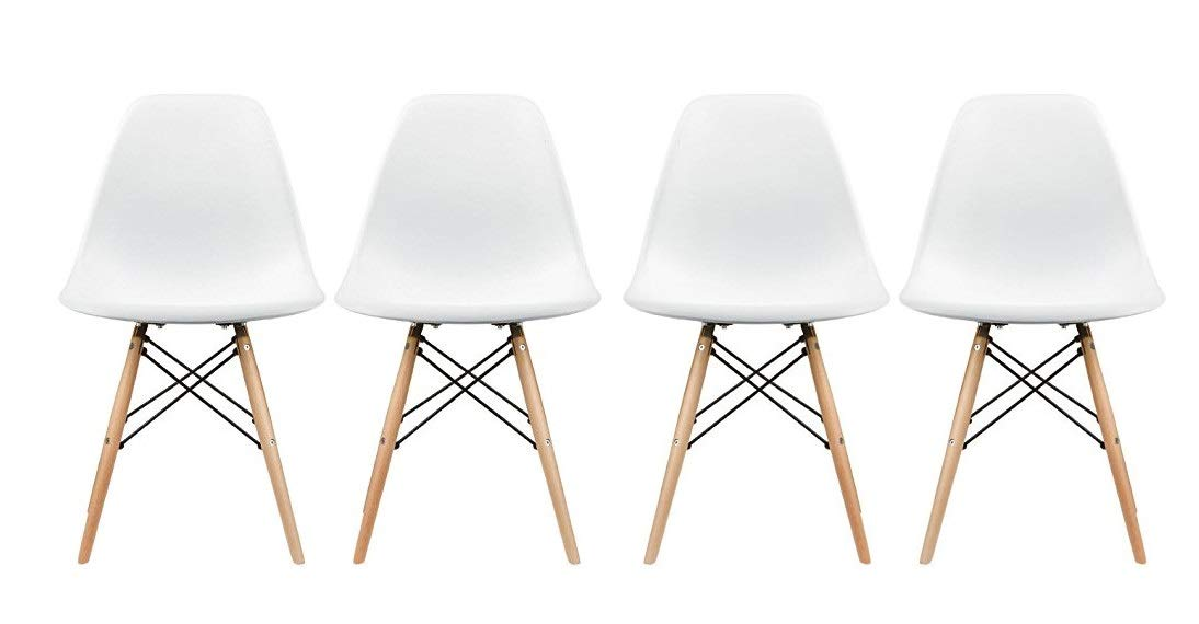 Plata Import PDI-PC-0116W Eames Style Side Chair with Natural Wood Legs Eiffel Dining Room Chair, Set of 4, White Plata Décor Import Inc