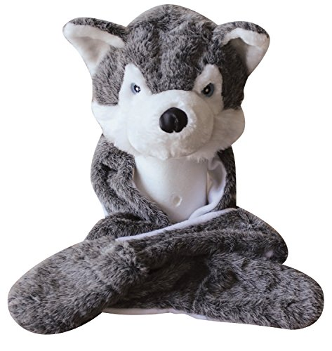 Plush Faux Fur Animal Critter Hat Cap - Soft Warm Winter Headwear(Wolf)]()