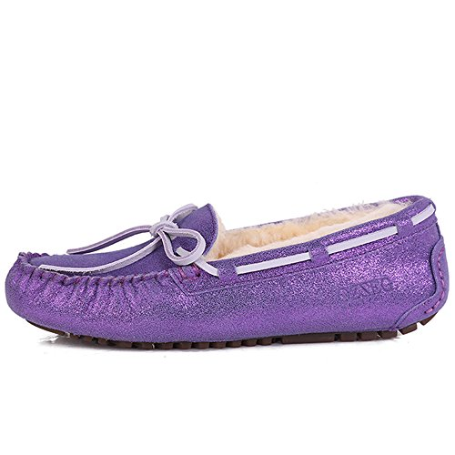 Womens Slip Flat Penny OZZEG Shoes Lining Leather On Loafer Purple Sheepskin dI7fqwq6