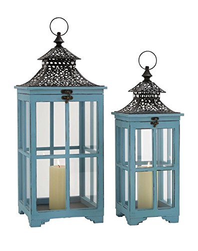 Deco 79 Wood Metal Glass Lantern, 21 by 26-Inch - Crown Iron Sculpture
