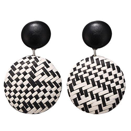 Sacow☘ Bohemian Style Wood Bamboo Rattan Geometric Round Earrings Ladies Jewelry (Black)