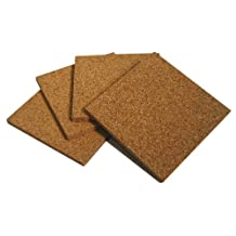 1/4 Inch Thick 3.5 X 3.5 Inch Square Cork Coasters- Set of 4
