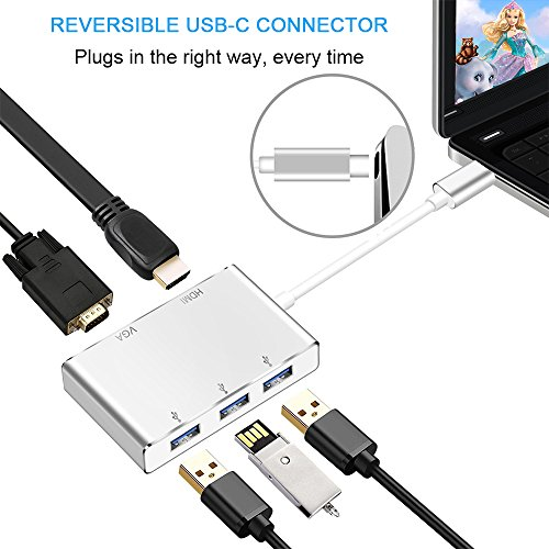 USB Type C to HDMI /USB 3.0 Adapter, Weton USB 3.1 Type C Adapter 4K HDMI Digital AV Multiport Adapter,Thunderbolt 3 Compatible,USB C HUB Adapter for New MacBook / MacBook Pro/ Chromebook Pixel