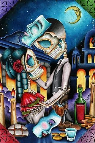 Masquerade by Dave Sanchez Skeleton Sugar Skull Lovers Tattoo Paper Art Print - Alternative Wall Art