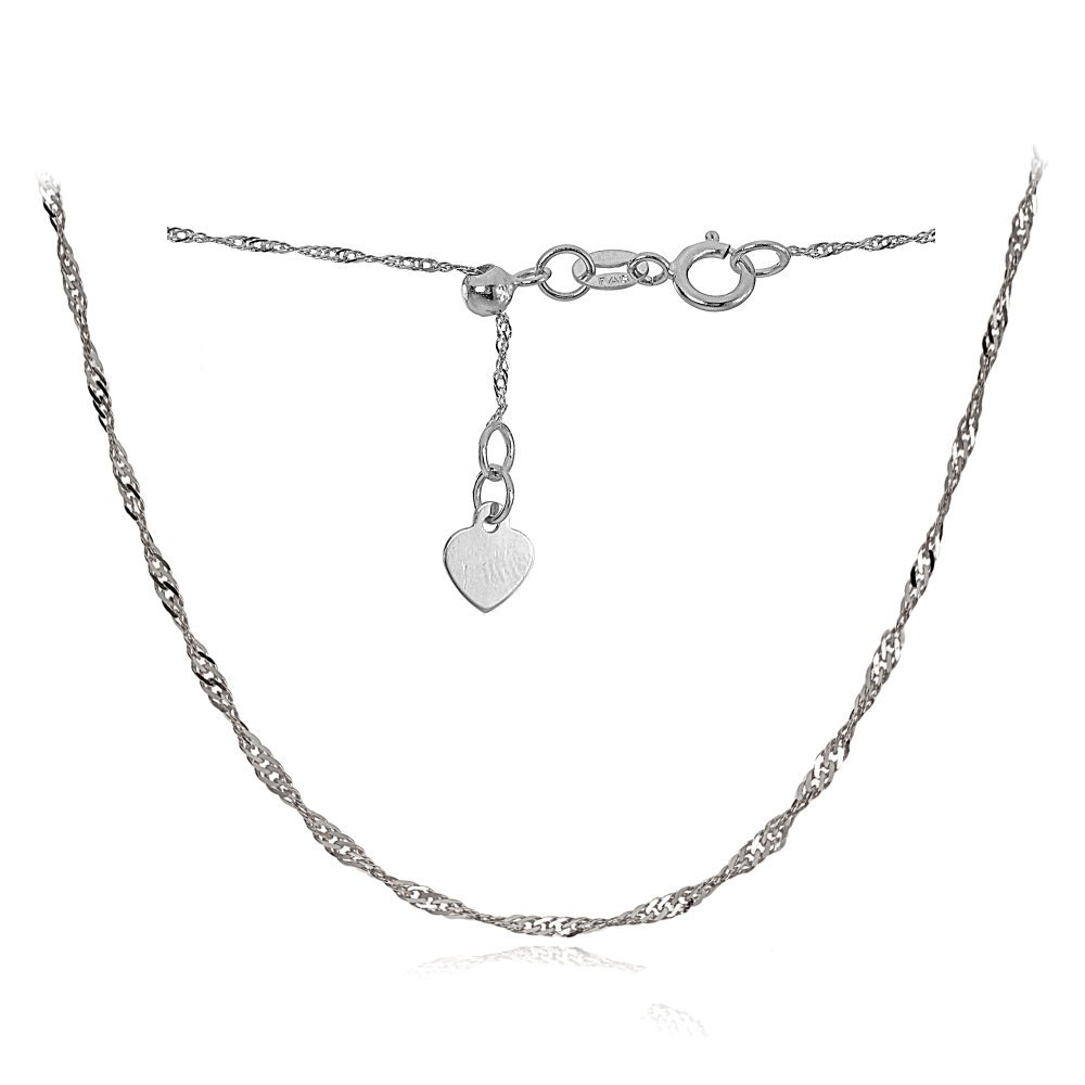 Bria Lou 14k White Gold .9mm Italian Singapore Adjustable Chain Necklace, 14-20 Inches