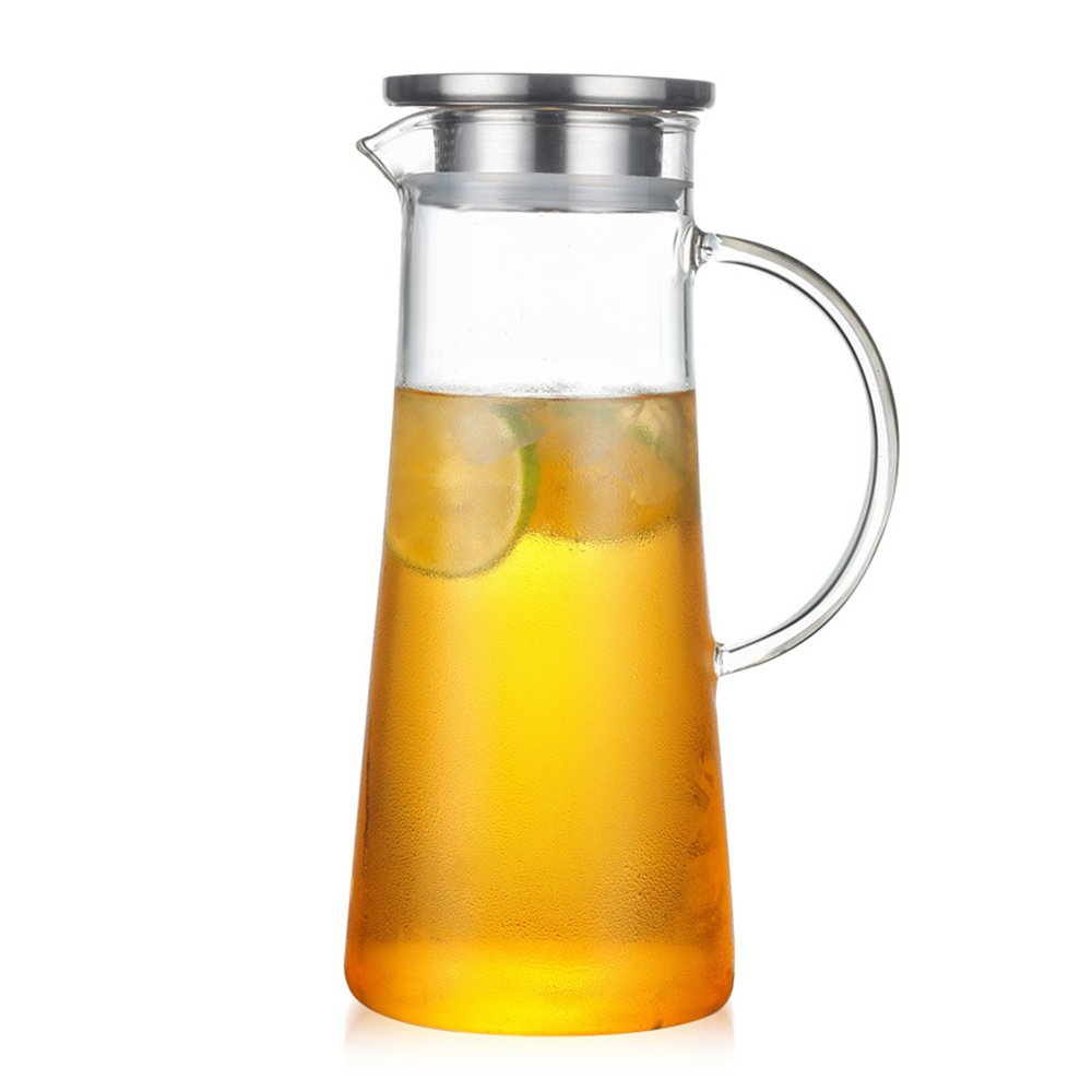 Glass Water Pitcher with Lid, Hot/Iced Tea Pitcher, Coffee/Water Jug and Juice Beverage Carafe by Whale Life, with Bonus Sponge Brush (50 Ounce, 1.5 Liter)