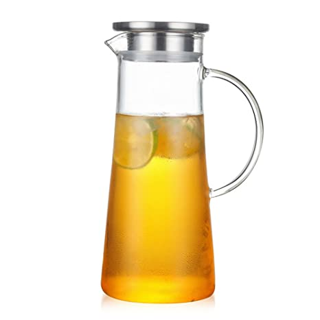 Glass Water Pitcher With Lid Hoticed Tea Pitcher Coffeewater Jug