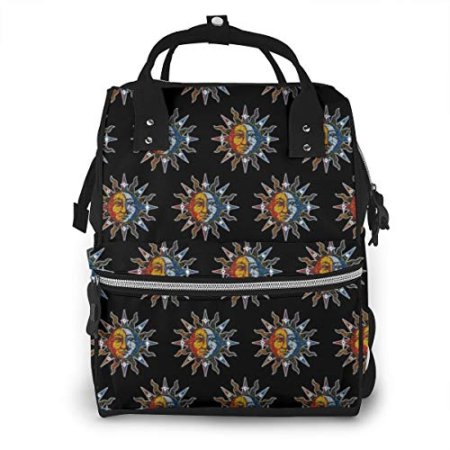 Celestial Mosaic Sun and Moon Diaper Bag Backpack Maternity Baby Nappy Changing Bags Shoulder Bag Organizer Multi-Function Travel Backpack