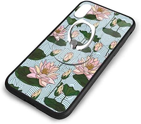 漫画の蓮の花 Iphone X/XS TPUガラス電話ケース +丸型ブラケット落下防止 傷なし