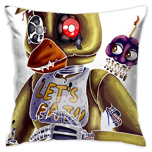 Reneealsip 16.5-Inch Nightmare Chica Five Nights at Freddy's Throw Pillow for Home Decor Square Decorative Pillow -